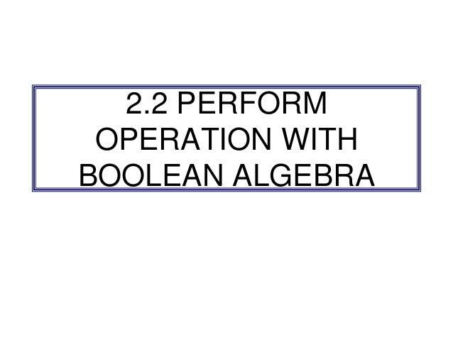 Chapter 2 Boolean Algebra (part 2)