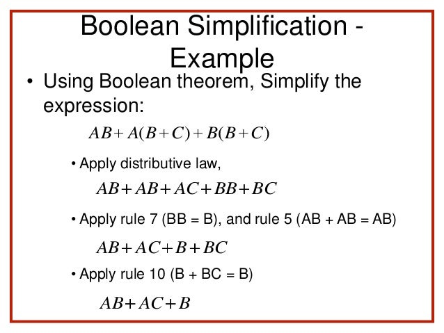 boolean theorems using examples in your essay