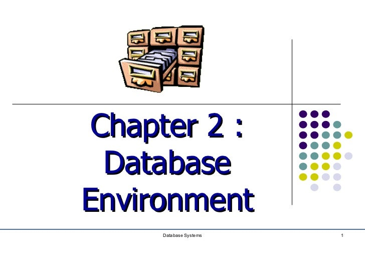 Chapter 2 :  DatabaseEnvironment     Database Systems   1