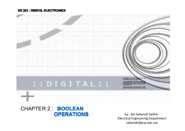 EE 202 : DIGITAL ELECTRONICS  CHAPTER 2 : BOOLEAN OPERATIONS  by : Siti Sabariah Salihin Electrical Engineering Department...