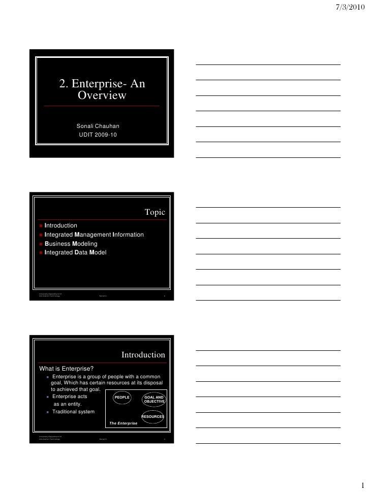 7/3/2010                          2. Enterprise- An                          Overview                             Sonali C...