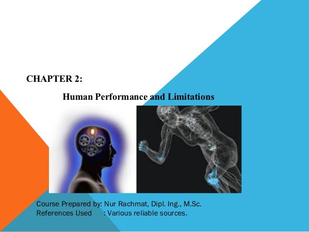 CHAPTER 2:        Human Performance and Limitations Course Prepared by: Nur Rachmat, Dipl. Ing., M.Sc. References Used    ...