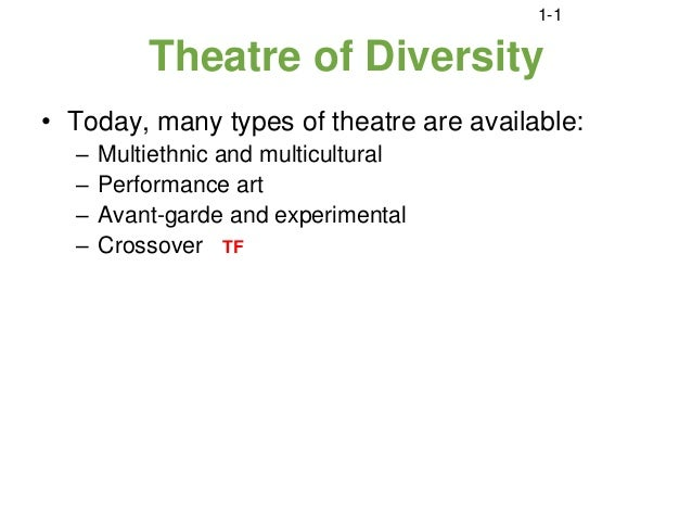 1-1          Theatre of Diversity• Today, many types of theatre are available:  –   Multiethnic and multicultural  –   Per...