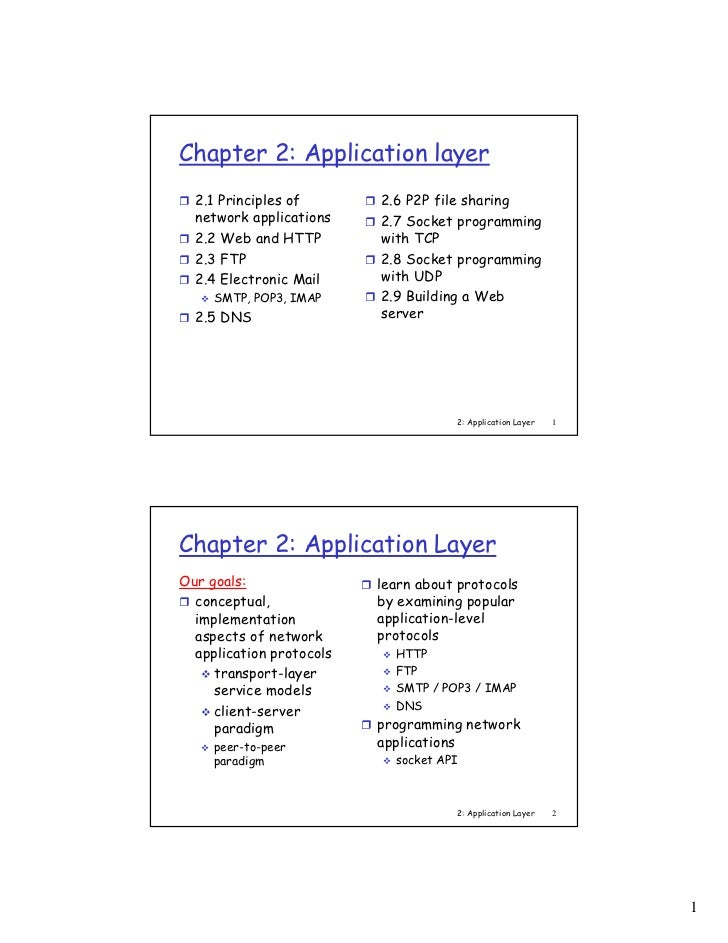 Chapter 2: Application layer  2.1 Principles of       2.6 P2P file sharing  network applications    2.7 Socket programming...
