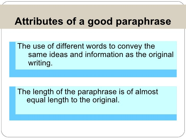Importance of paraphrasing