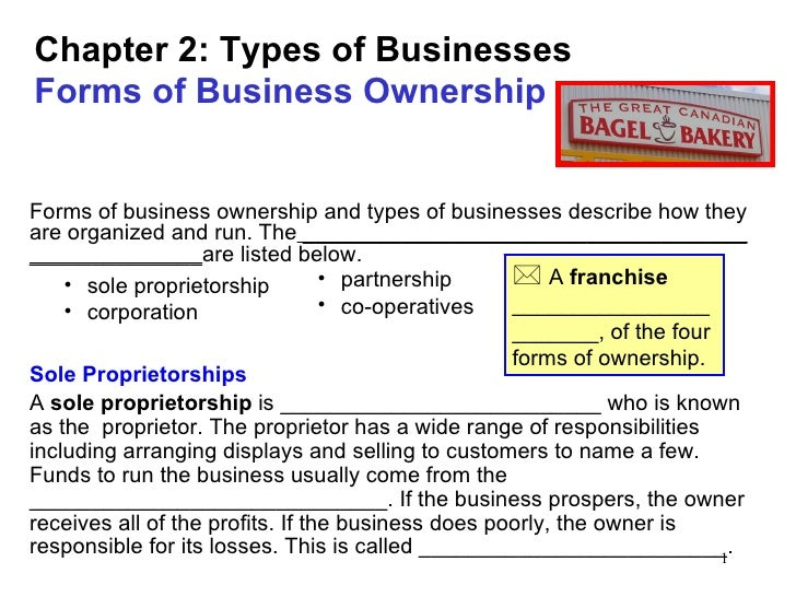 Chapter 2: Types of BusinessesForms of Business OwnershipForms of business ownership and types of businesses describe how ...