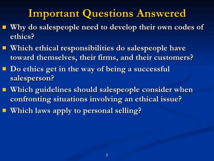 ethical responsibilities of salespeople
