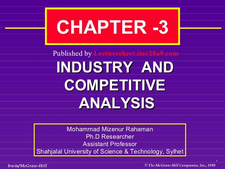 INDUSTRY  AND COMPETITIVE  ANALYSIS CHAPTER -3  Mohammad Mizenur Rahaman Ph.D Researcher Assistant Professor Shahjalal Uni...