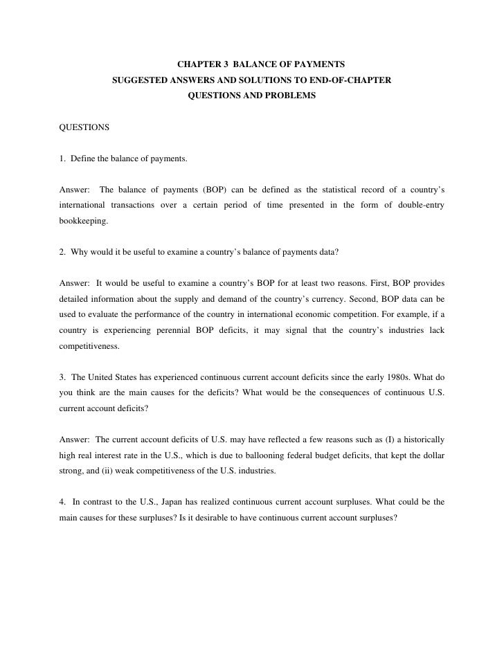 CHAPTER 3 BALANCE OF PAYMENTS               SUGGESTED ANSWERS AND SOLUTIONS TO END-OF-CHAPTER                             ...
