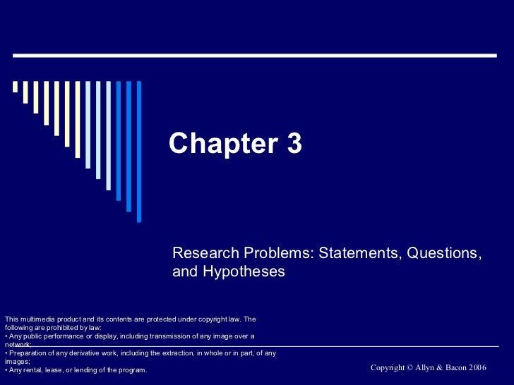 Chapter 3 - Problem Statement Formulation