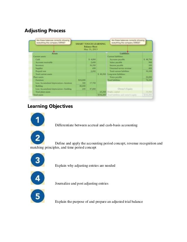 Adjusting Process Learning Objectives                  Differentiate between accrual and cash-basis accounting            ...