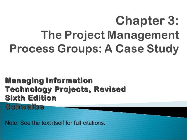 Managing InformationTechnology Projects, RevisedSixth EditionSchwalbeNote: See the text itself for full citations.