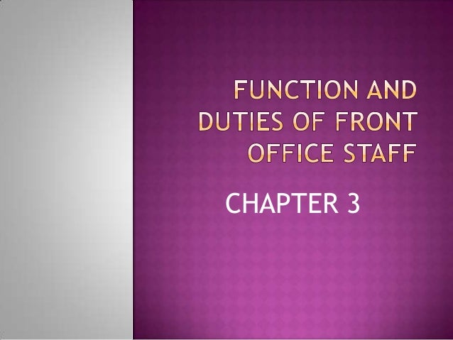 Chapter 3 front office pratice