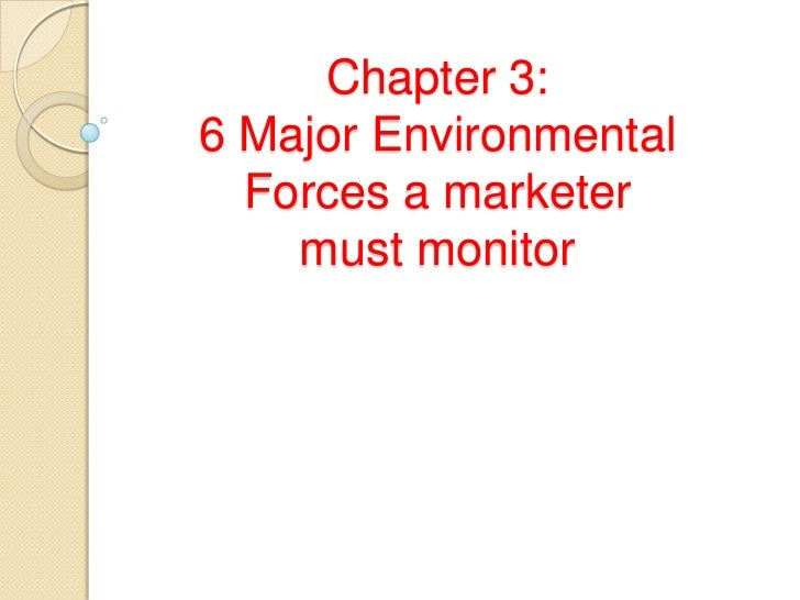 Chapter 3:6 Major Environmental  Forces a marketer    must monitor