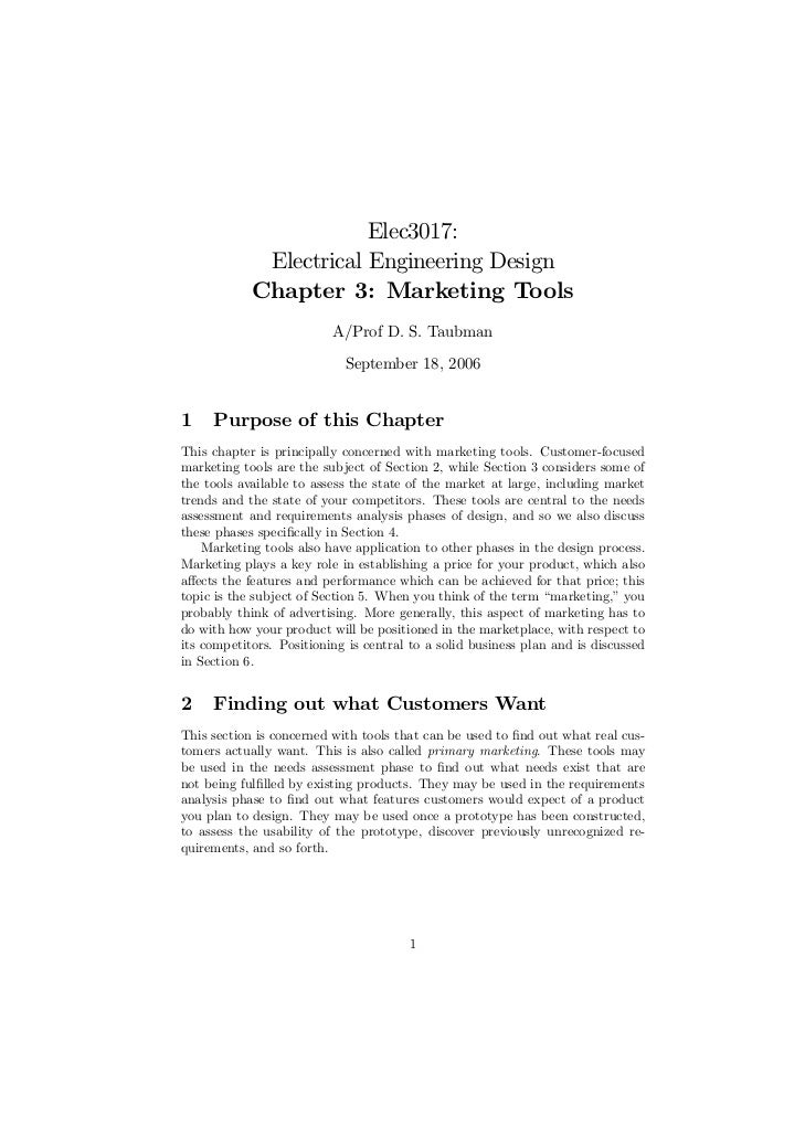Elec3017:             Electrical Engineering Design            Chapter 3: Marketing Tools                          A/Prof ...