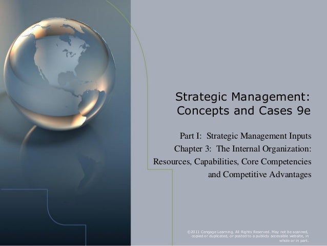 Chapter 3 the internal organization- resources capabilities core competencies and competitive advantages