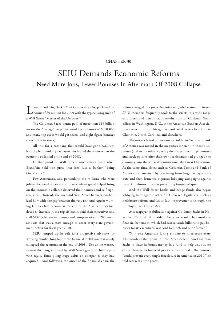 CHAPTER 30                      SEIU Demands Economic Reforms       Need More Jobs, Fewer Bonuses In Aftermath Of 2008 Col...