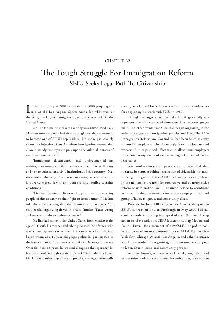 CHAPTER 32                   e Tough Struggle For Immigration Reform                                 SEIU Seeks Legal Path...