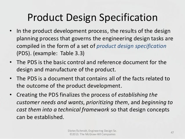 How to write a product design specification