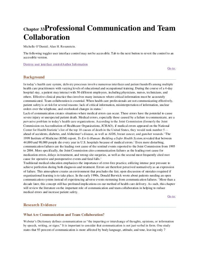 Professional Communication and TeamChapter 33CollaborationMichelle O'Daniel; Alan H. Rosenstein.The following toggler user...