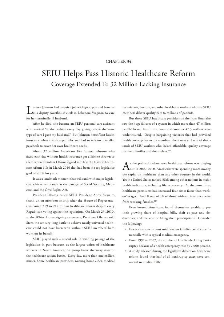 CHAPTER 34           SEIU Helps Pass Historic Healthcare Reform                  Coverage Extended To 32 Million Lacking I...