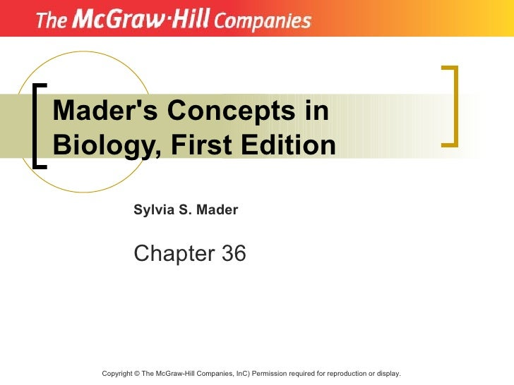 Mader's Concepts in Biology, First Edition              Sylvia S. Mader               Chapter 36        Copyright © The Mc...