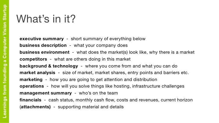 Summary Business Plan