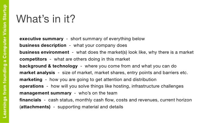 Company summary section of business plan