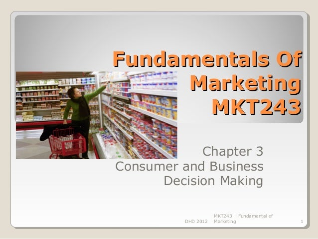 Fundamentals Of     Marketing       MKT243            Chapter 3Consumer and Business      Decision Making                 ...