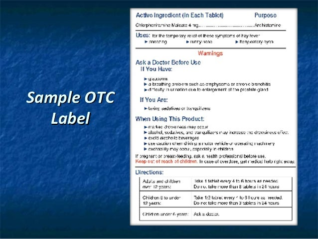 Otc Drug Labels 35 Sample Otc Label