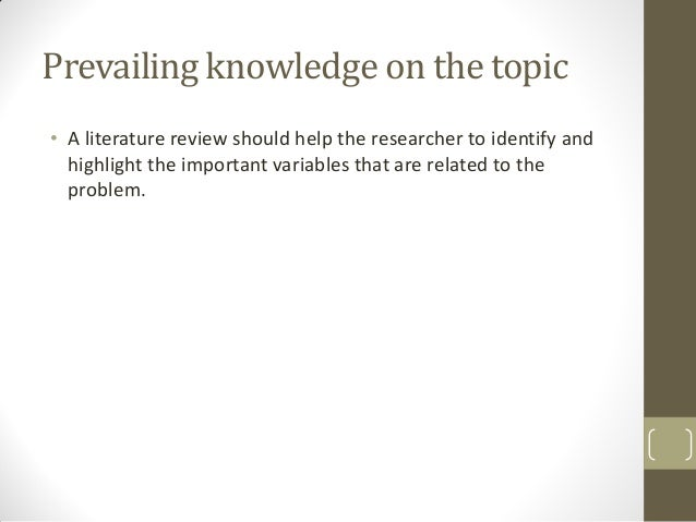 importance of literature review in research process To appreciate what a literature review in management research it is important for the review process involves.