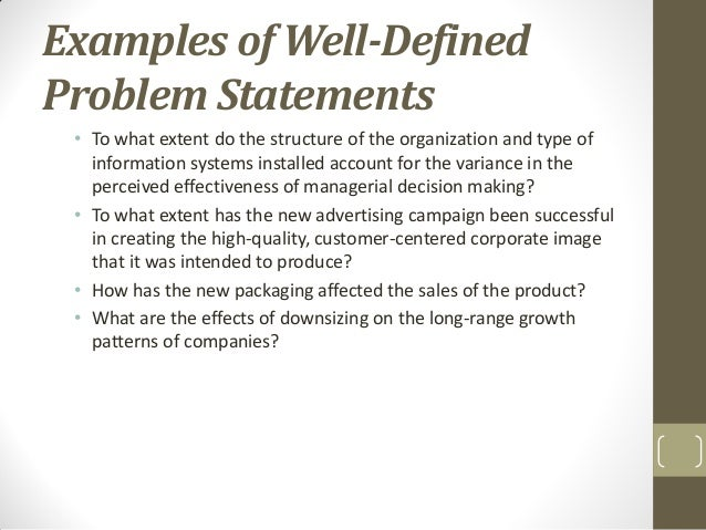 problem statement sample in research proposal