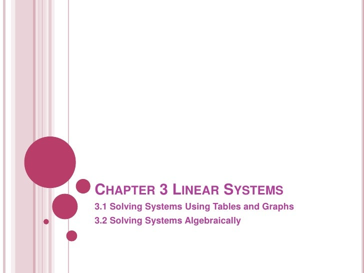 Chapter 3 linear systems