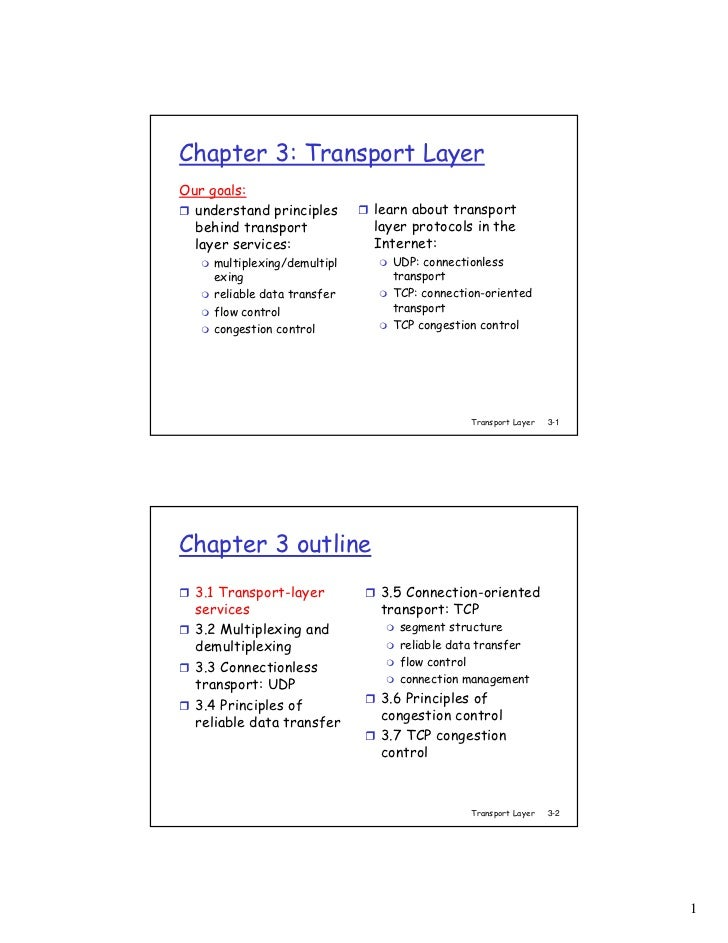 Chapter 3: Transport LayerOur goals:  understand principles       learn about transport  behind transport            layer...