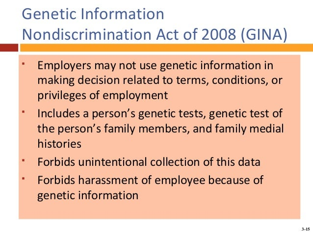 genetic information nondiscrimination act Genetic information nondiscrimination act  individuals for employment decisions or health insurance purposes on the basis of genetic information alone.