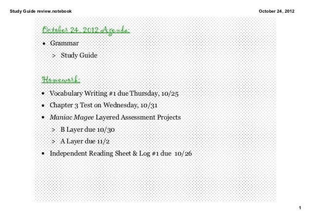 StudyGuidereview.notebook                                    October24,2012              October 24, 2012 Agenda:     ...
