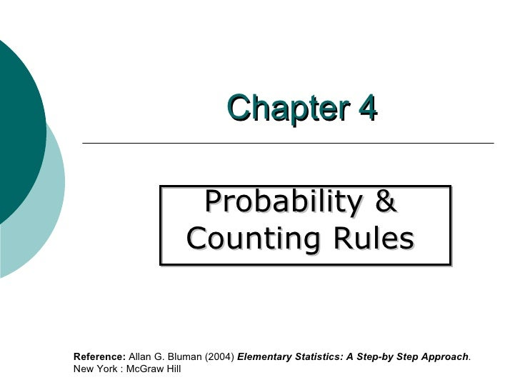 Chapter 4 Probability &  Counting Rules  Reference:  Allan G. Bluman (2004)  Elementary Statistics: A Step-by Step Approac...