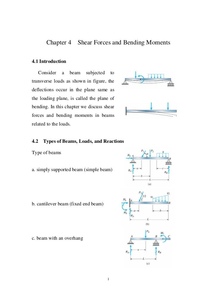 Chapter 4      Shear Forces and Bending Moments4.1 Introduction      Consider   a   beam   subjected       totransverse lo...