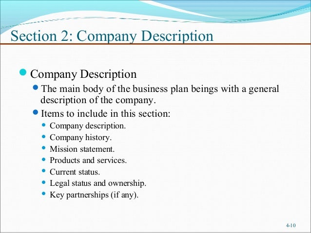 Business description in business plan