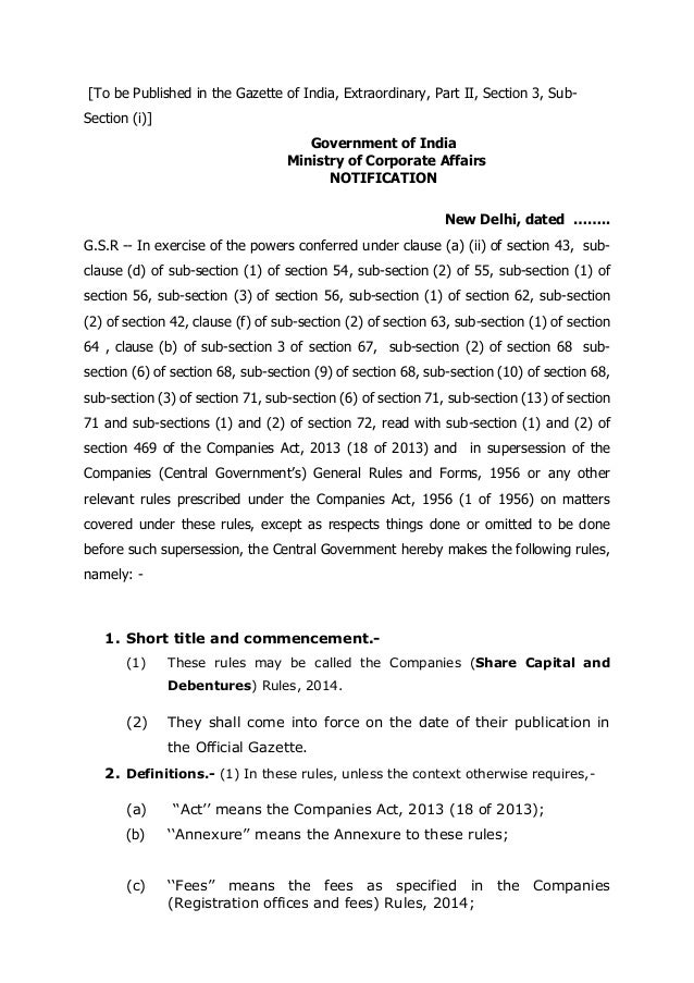 The new Companies Law 2013 (India) - Chapter 4: Share Capital and Debentures