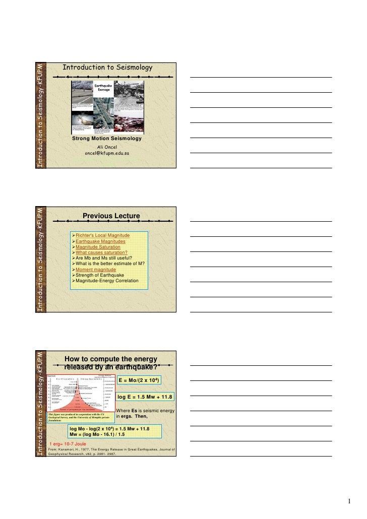 Seismology: Fundementals 2