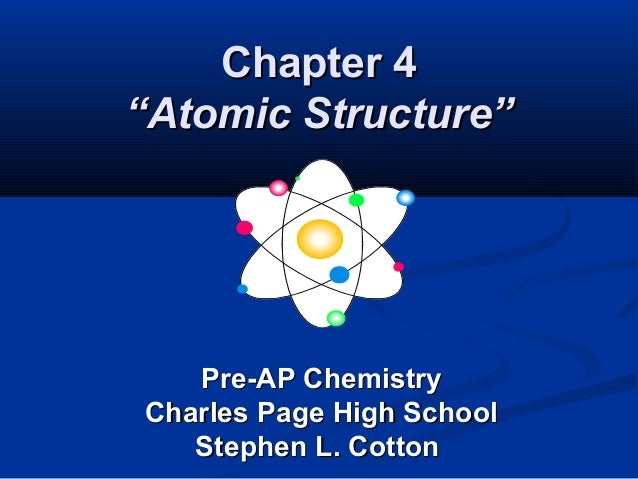 """Chapter 4Chapter 4""""Atomic Structure""""""""Atomic Structure""""Pre-AP ChemistryPre-AP ChemistryCharles Page High SchoolCharles Page..."""
