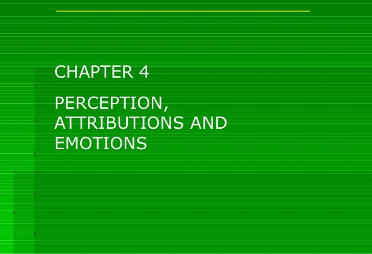 CHAPTER 4 PERCEPTION, ATTRIBUTIONS AND EMOTIONS