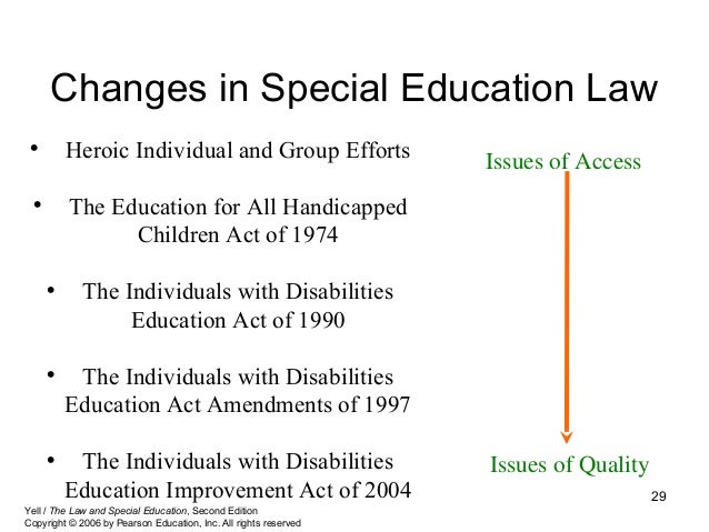 history of special education law Special education programs in the united states were made  many states had  laws that explicitly excluded children with certain types of disabilities, including  children who were blind,.