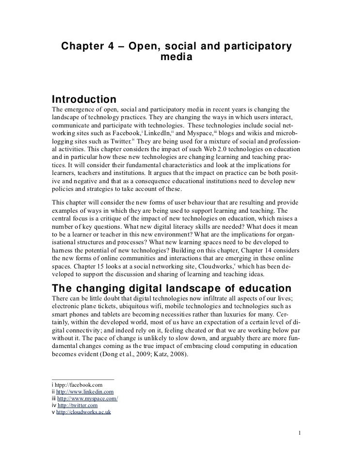 Chapter 4 – Open, social and participatory                    mediaIntroductionThe emergence of open, social and participa...
