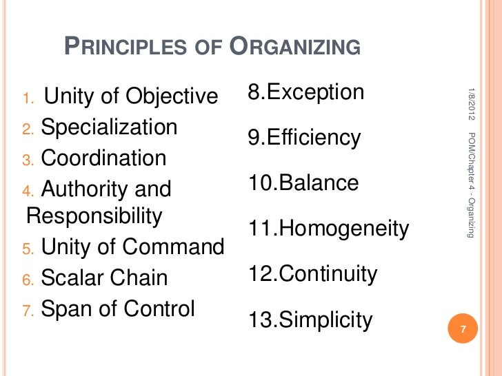What is an organizing principal?