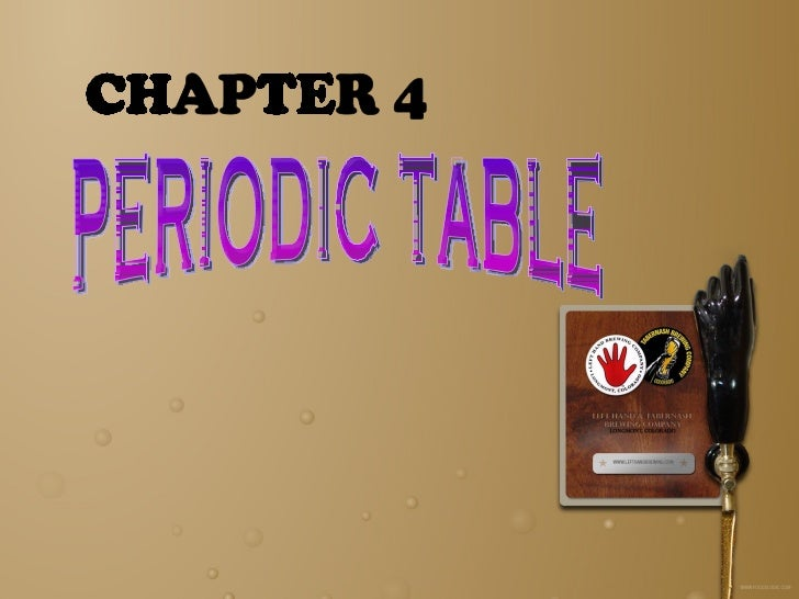Chapter 4 periodic table