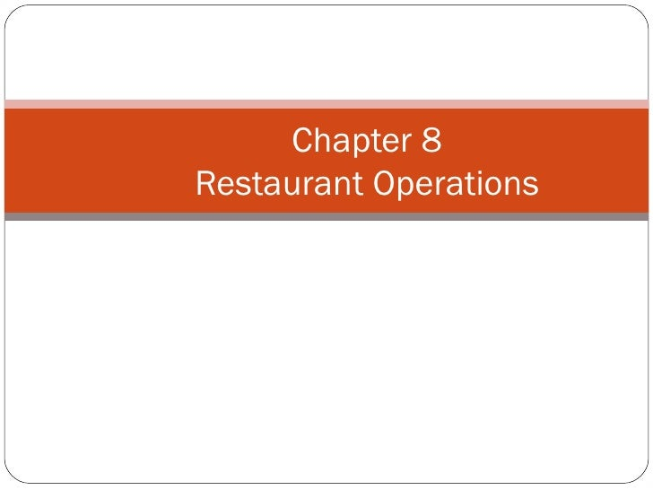 Chapter 8Restaurant Operations