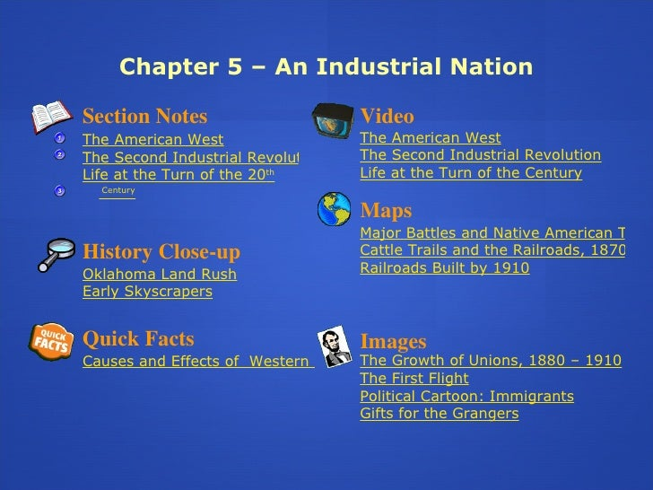 Chapter 5 – An Industrial Nation Section Notes The American West The Second Industrial Revolution Life at the Turn of the ...