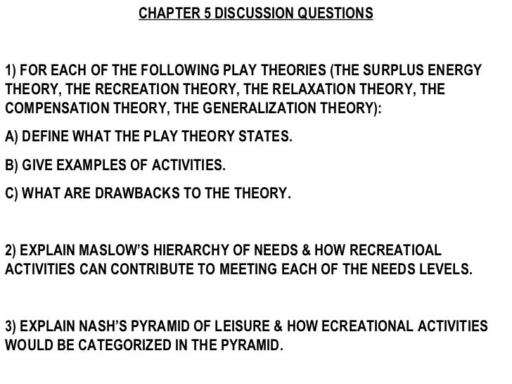 CHAPTER 5 DISCUSSION QUESTIONS 1) FOR EACH OF THE FOLLOWING PLAY THEORIES (THE SURPLUS ENERGY THEORY, THE RECREATION THEOR...